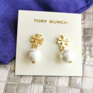 Tory Burch Pearl logo drop earrings